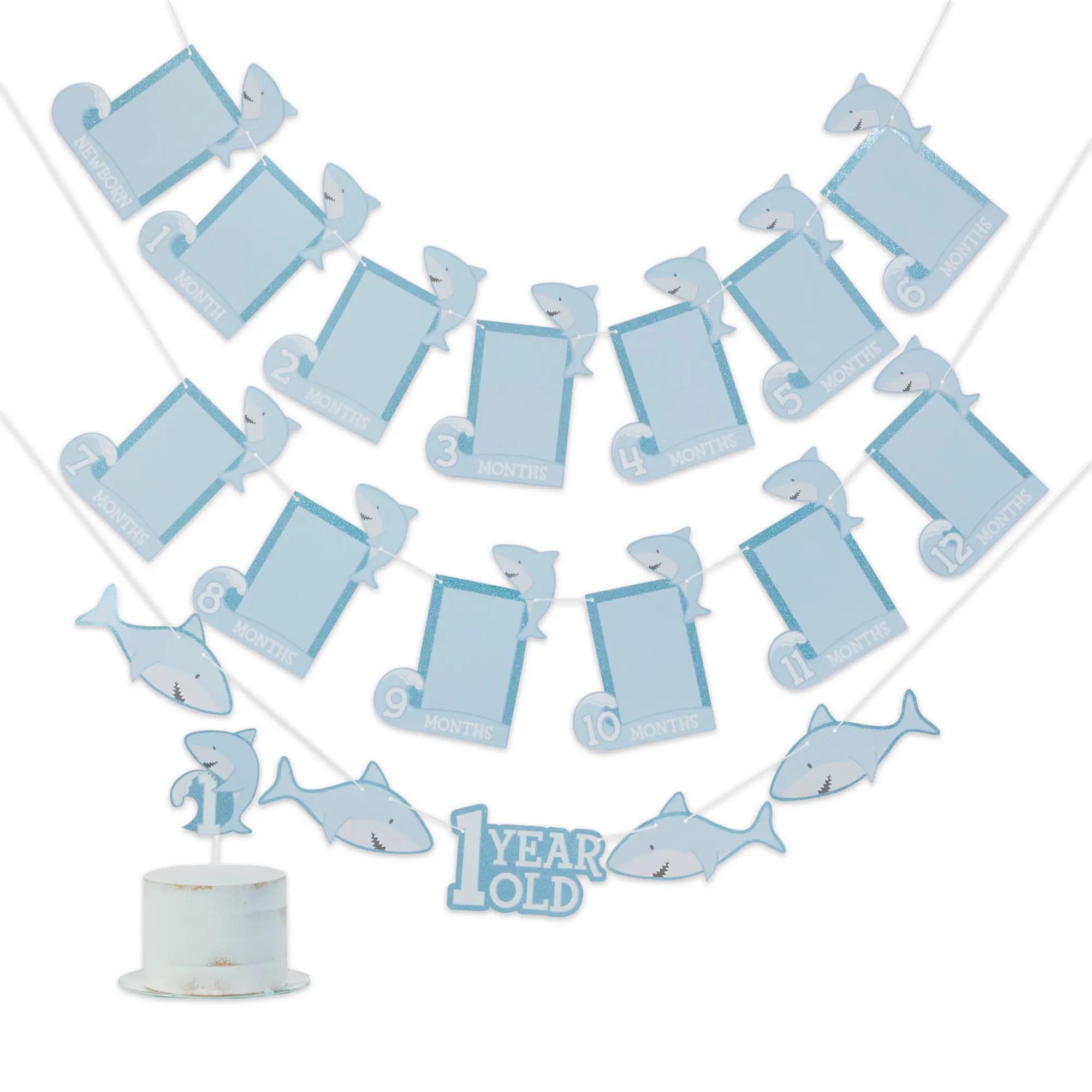 Kate Aspen Shark Party 1st Birthday Milestone Photo Banner Cake Topper Set Michaels