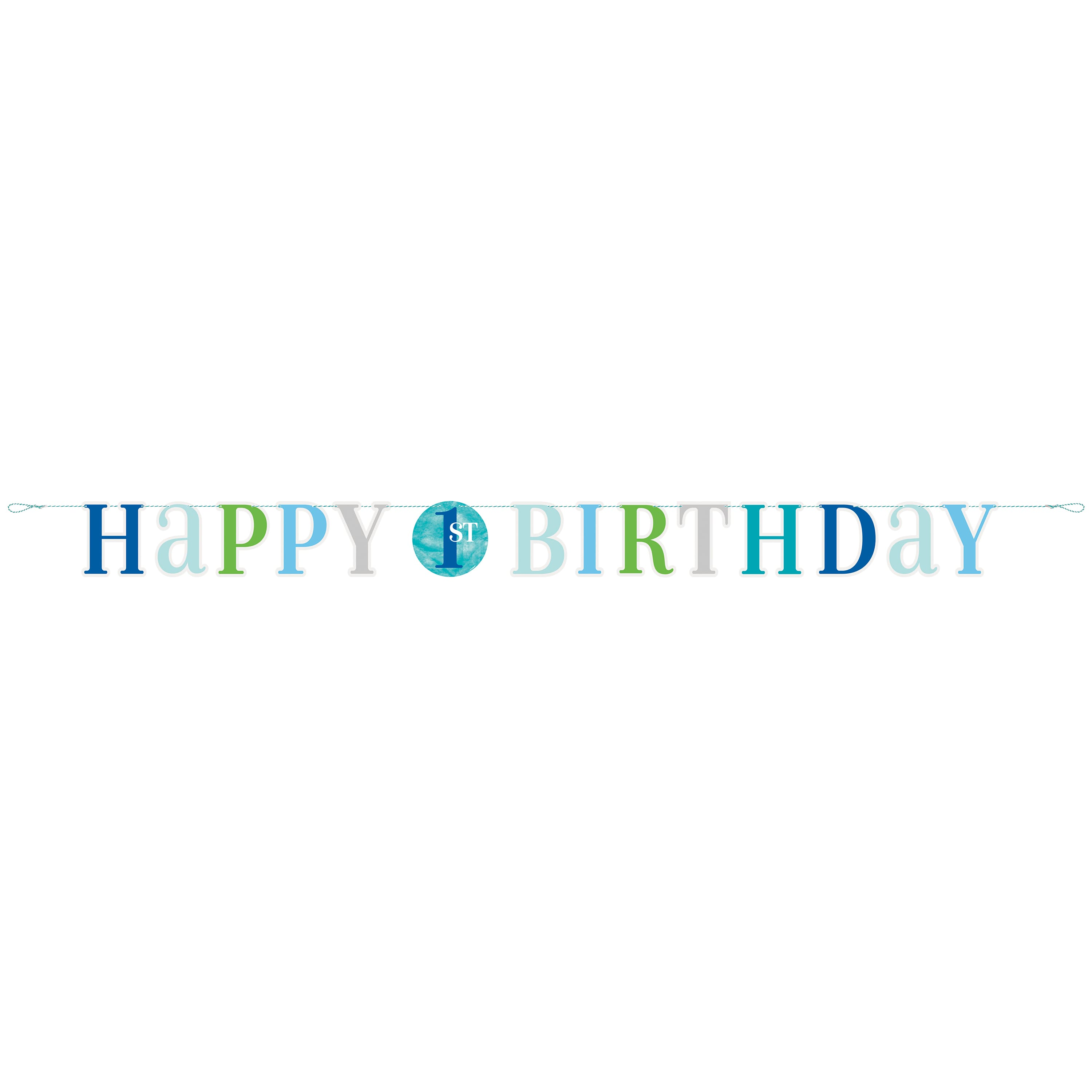 Blue First Birthday Banner Blue Dots 1st Birthday Party Decorations