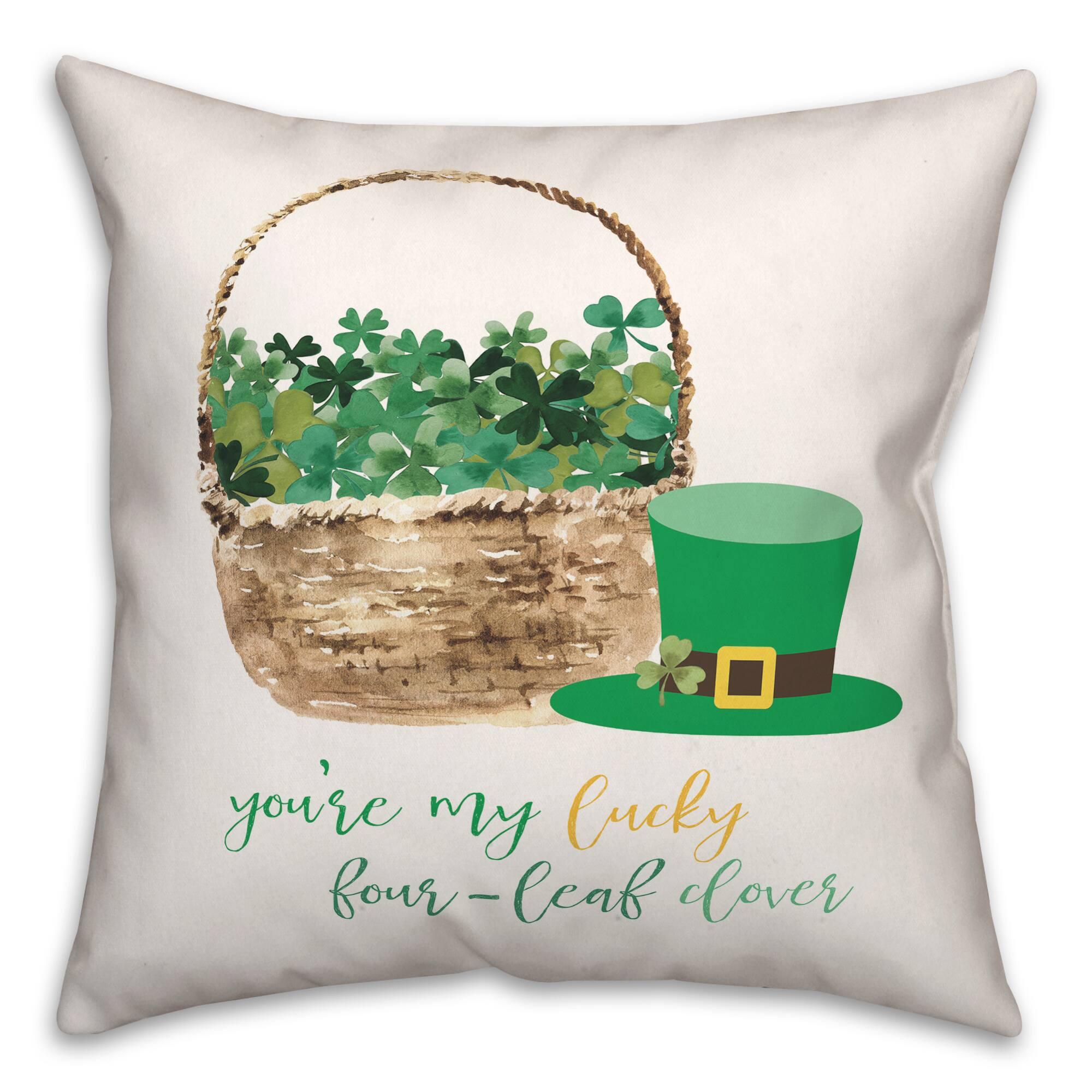 lucky clover basket throw pillow