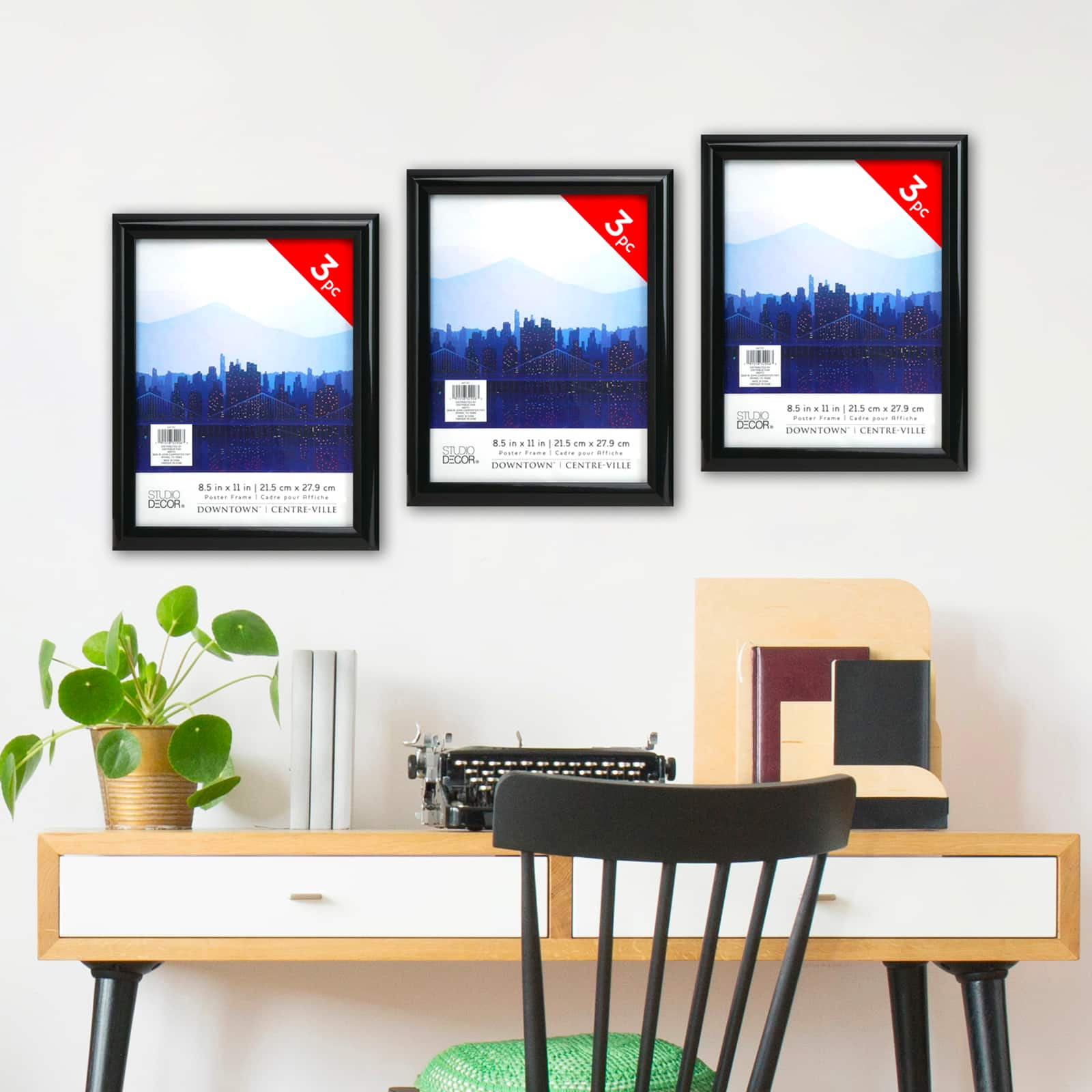 3 pack black 8 5 x 11 poster frame downtown by studio decor