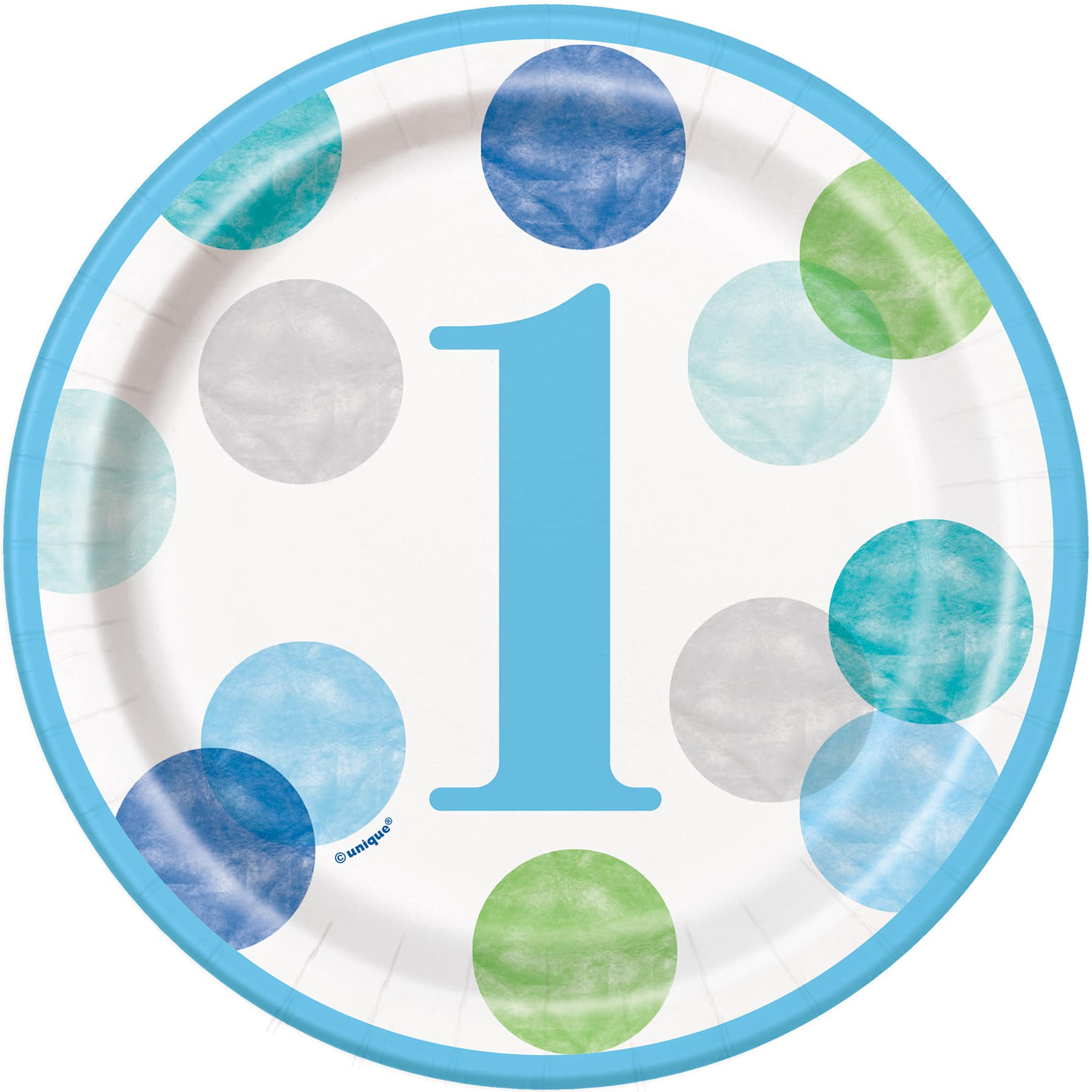 Blue Dot First Birthday Cake Plates Blue 1st Birthday Party Supplies