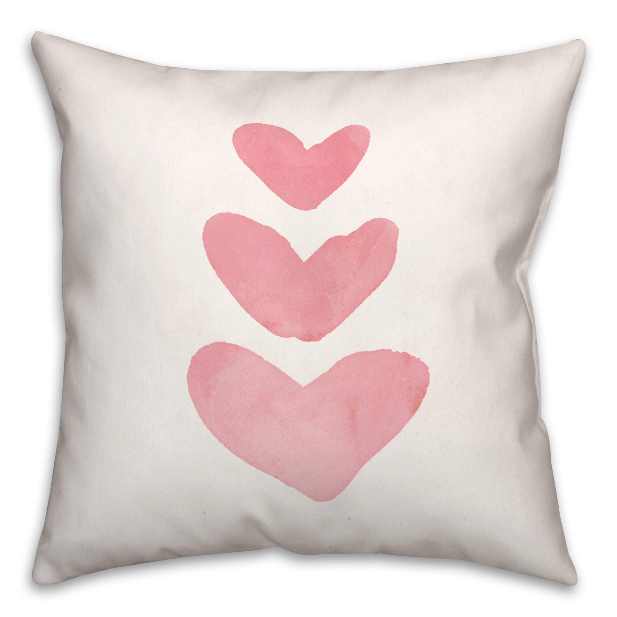 watercolor heart patternthrow pillow