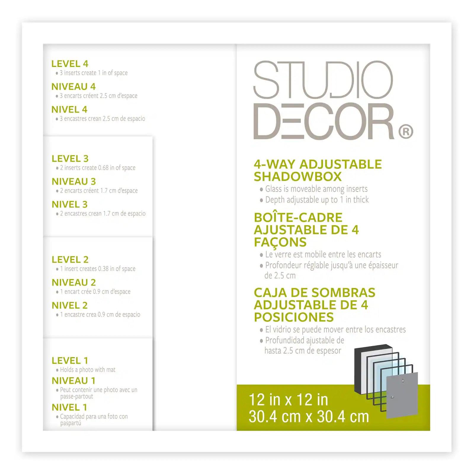 boite cadre a profondeur ajustable blanche 30 4 x 30 4 cm de studio decor