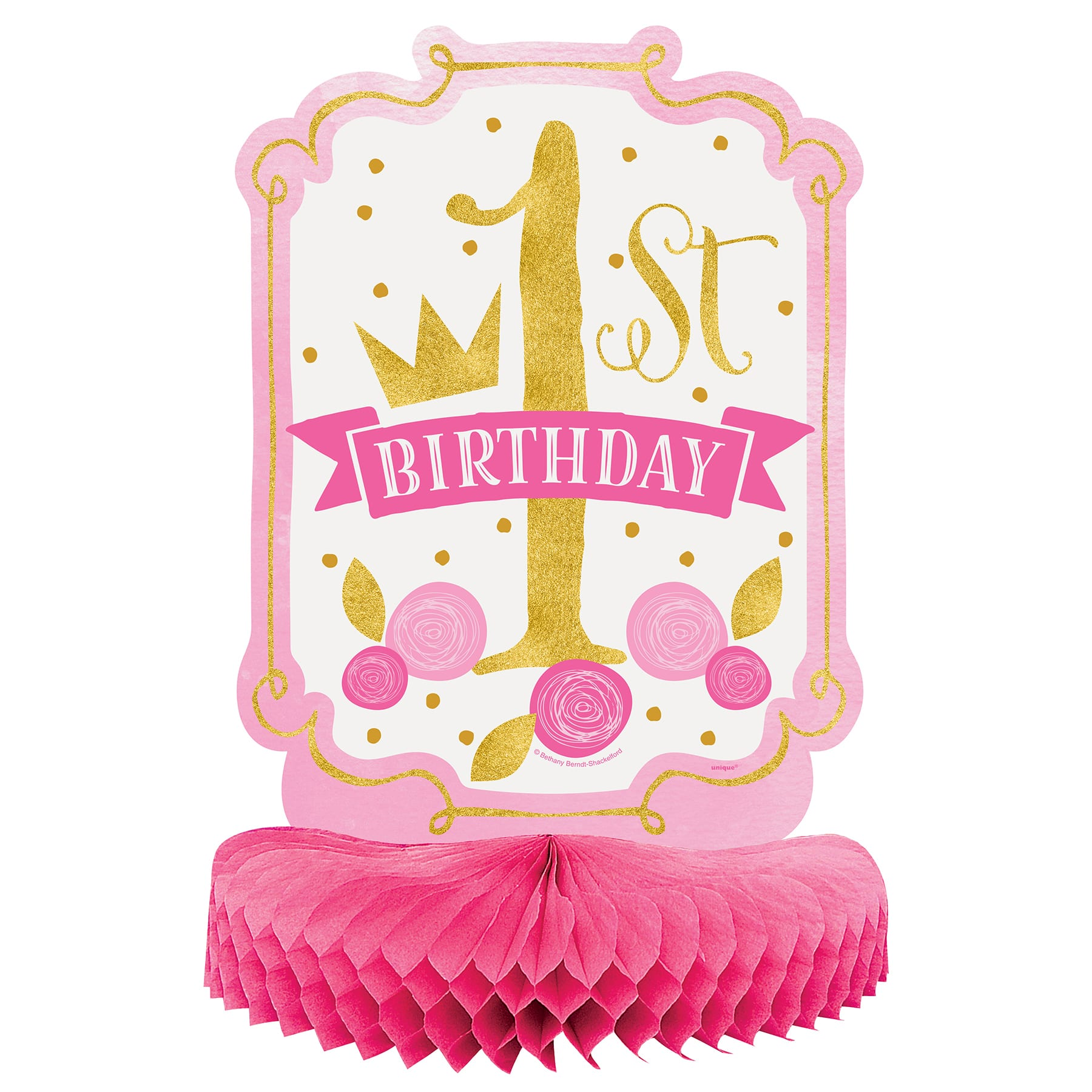 Pink And Gold 1st Birthday Table Centerpiece Girl 1st Birthday Party Decorations