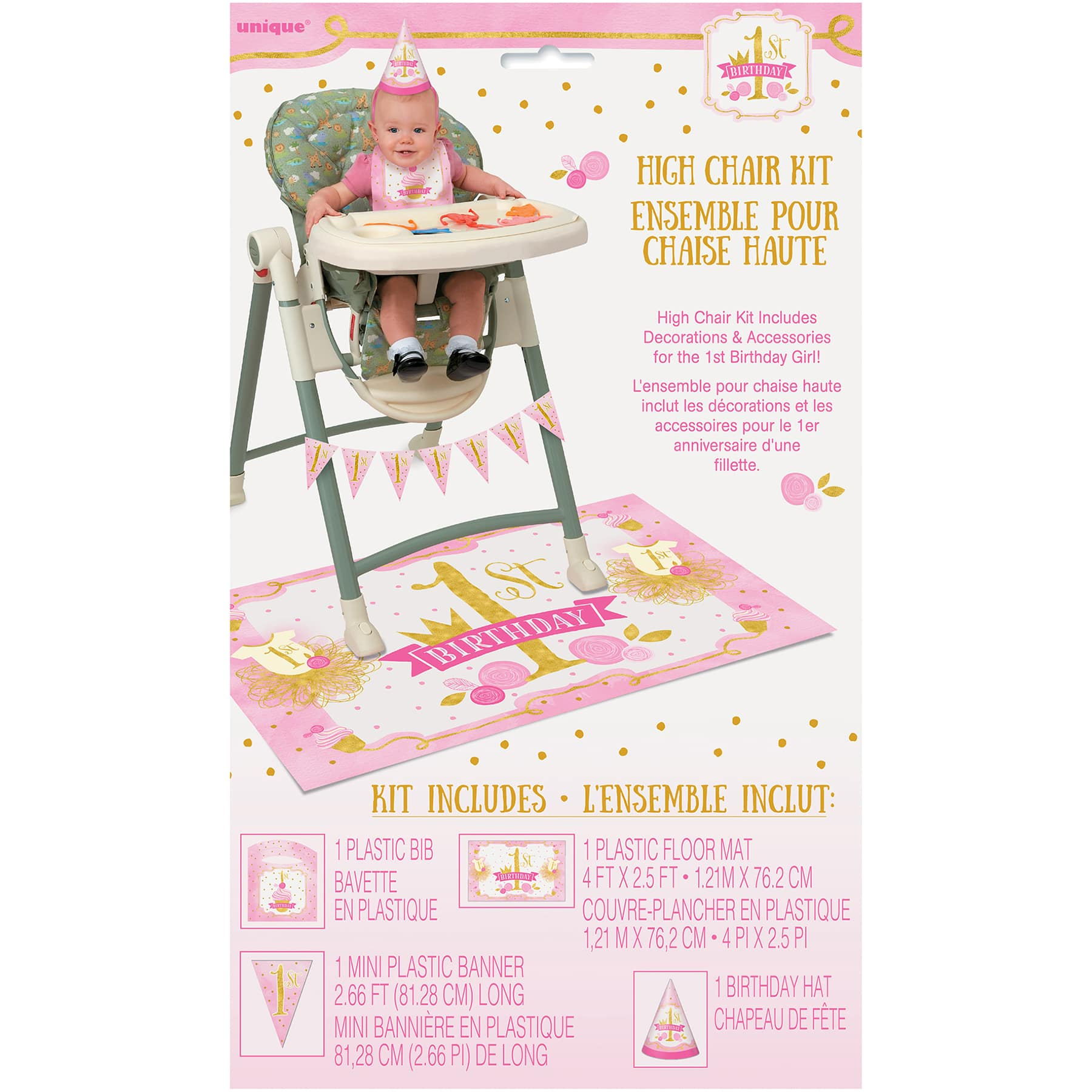 Pink And Gold 1st Birthday High Chair Decoration Kit Girl 1st Birthday Party Decorations