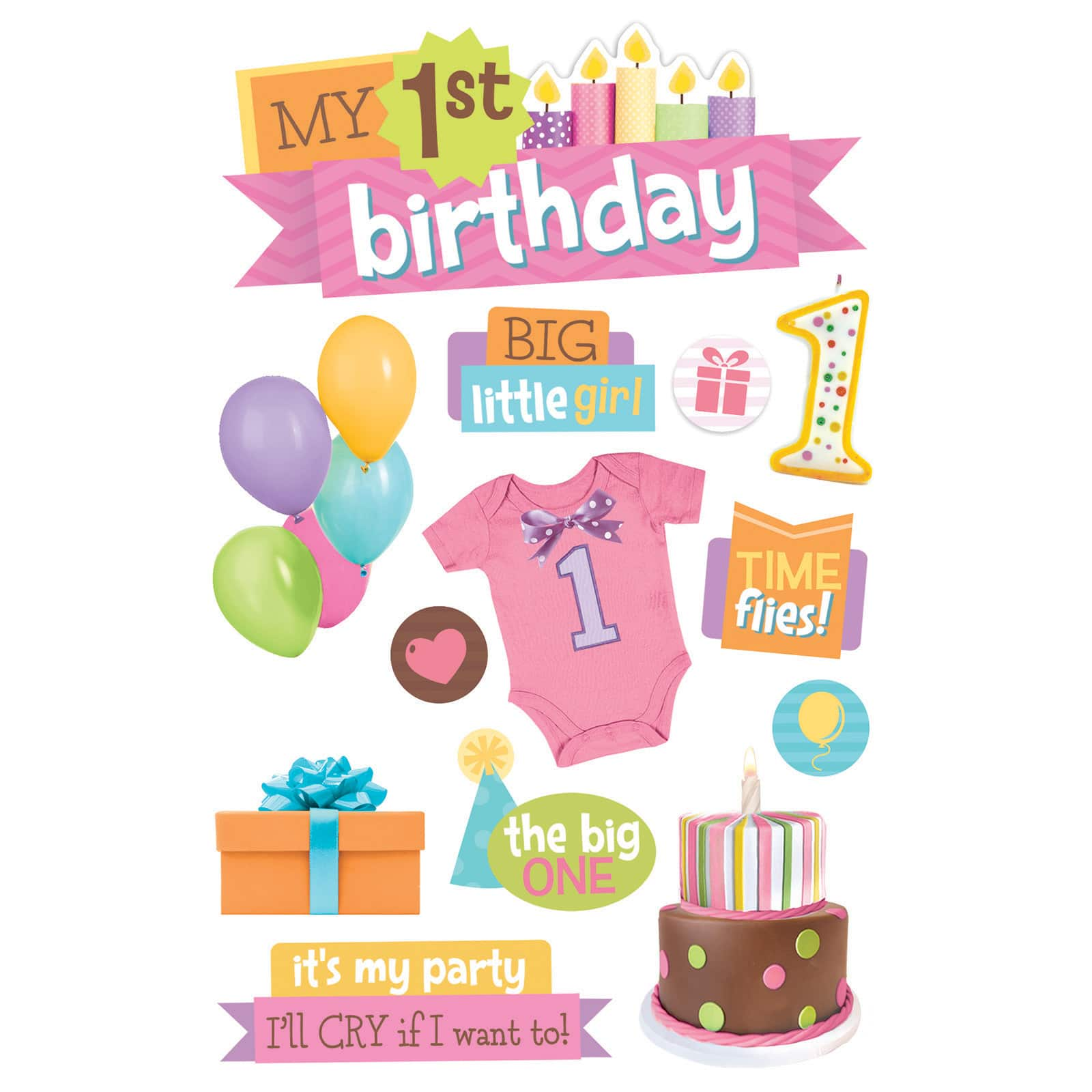 Buy The Paper House 3d Stickers 1st Birthday Girl At Michaels