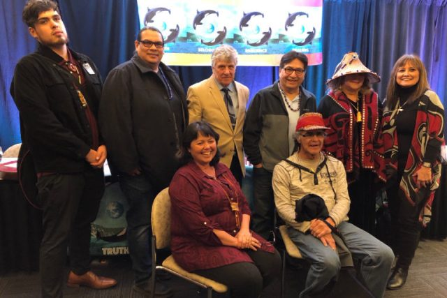 From left: Cedar George, Reuben George, Kurt Russo, Robert Nahanee, Raynell Morris, Lisa Wilson, Ellie Kinley, Richard Solomon. Photo courtesy Lummi Nation Sovereignty and Treaty Protection Office.
