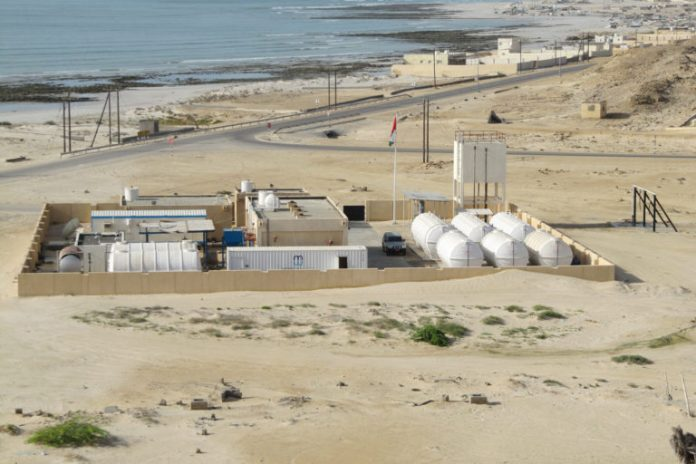 Modern Water's containerized desalination plant in Oman. Half the global desalination capacity is on the shores of the Persian Gulf, watering cities like Dubai, Sharjah and Muscat.
