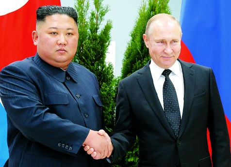 Vladimir Putin e Kim Jong-un analisam a desnuclearização
