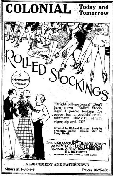 Rolled Stockings starred Louise Brooks and was filmed in and around the campus at UC Berkeley.