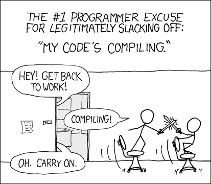 'Are you stealing those LCDs?' 'Yeah, but I'm doing it while my code compiles.'