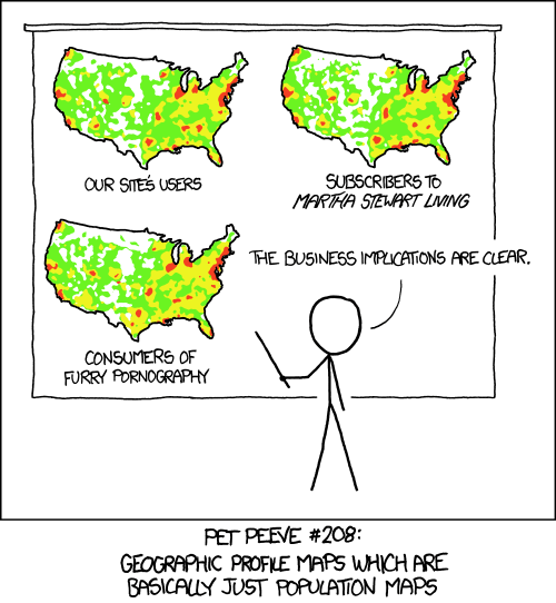 A moins de prendre en compte la densité, toutes les heatmaps sont des cartes de la population