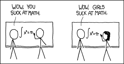 [Man writes incorrect equation on chalkboard] ONLOOKER: Wow, you suck at math. [Woman writes incorrect equation on chalkboard] ONLOOKER: Wow, girls suck at math.