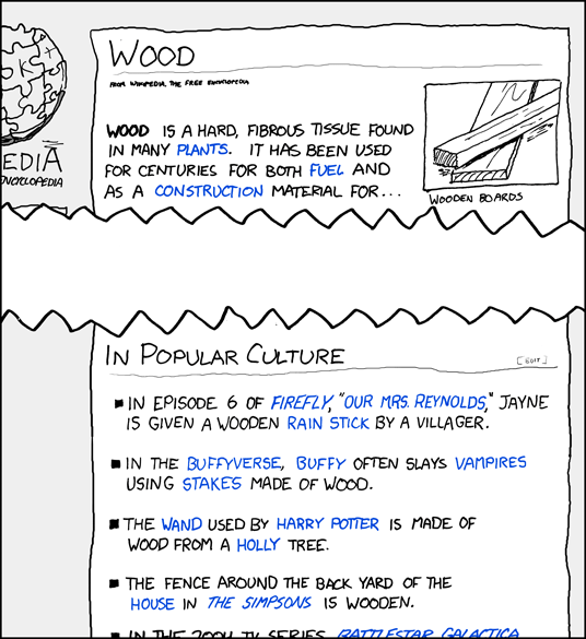 An cartoon drawing of a Wikipedia article.