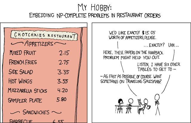 XKCD travelling salesman + knapsack problem