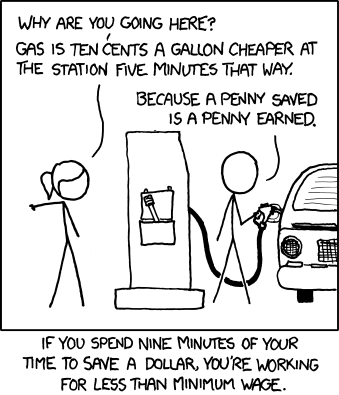 And if you drive a typical car more than a mile out of your way for each penny you save on the per-gallon price, it doesn't matter how worthless your time is to you--the gas to get you there and back costs more than you save.