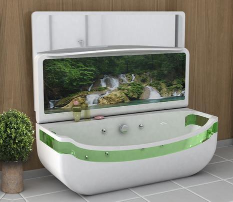 A banheira com design moderno inova com tela de LED que transmite imagens de paisagens  - Reprodução/Internet