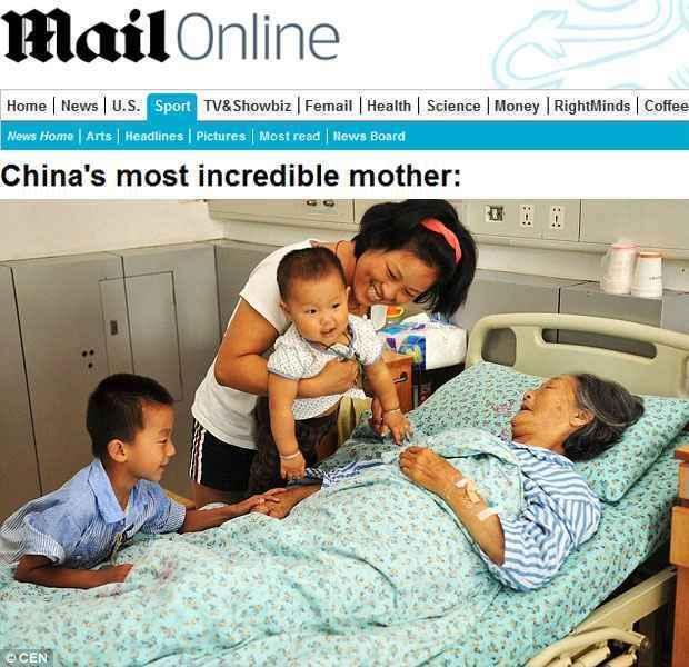 Crianças que a heroína chinesa resgatou visitam-na no hospital, onde ela está internada devido a uma insuficiência renal (Daily Mail/Reprodução)
