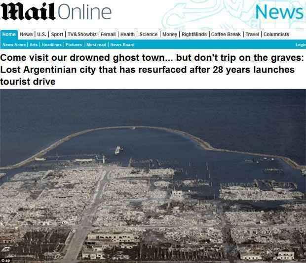 Epecuén foi destaque nesta semana na imprensa europeia (Daily Mail/Reprodução)