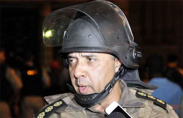 Imagem do coronel Carvalho durante as manifestações em 15 de junho de 2013 (Juarez Rodrigues/EM/D.A Press.)