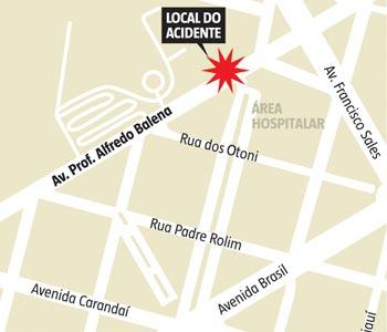 Mapa mostra o local do acidente (clique para ampliar) (Janey Costa/Arte EM)