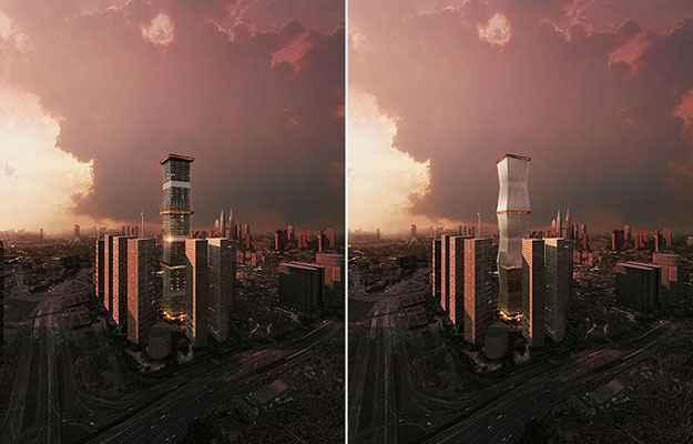 A Equator Tower está na disputa na categoria Tecnologia. A edificação pode ganhar uma fachada extra nos dias de sol forte (Architizer A  Awards/Divulgação)