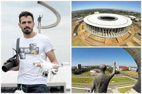 Rafael  Duarte mostra o drone que utilizou para as fotos aéreas (e) (Zuleika de Souza/CB/D.A Press/Rafael Duarte/Divulgação)