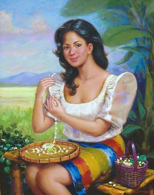 Magsasampaguita  [#1407708] A painting of a Filipina stringing sampaguita flowers into a necklace