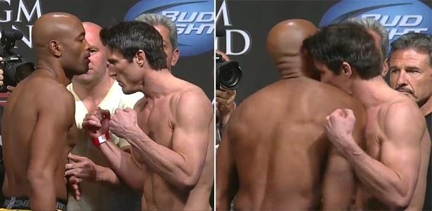Anderson Silva dá ombrada em Chael Sonnen durante a pesagem, em Las Vegas