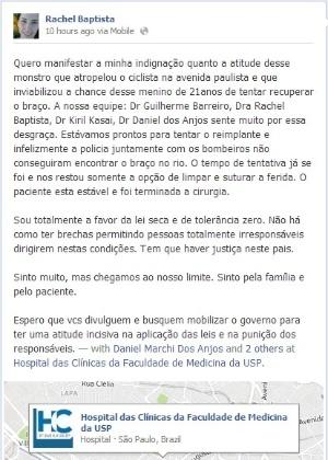 Post publicado no Facebook por Rachel Baptista