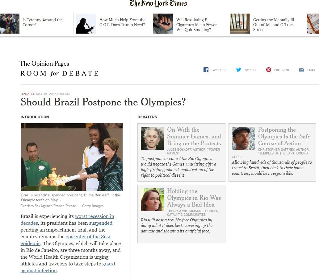 'New York Times' debate possibilidade de que Olimpíada no Rio seja adiada