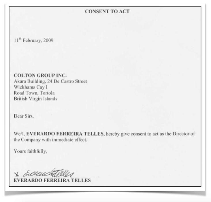 Documento com a assinatura de Gerardo Ferreira Telles