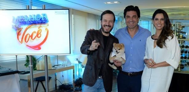 """Celso Zucatelli, o cão Paçoca, Edu Guedes e Mariana Leão lançam o """"Melhor Pra Você"""", da RedeTV!"""