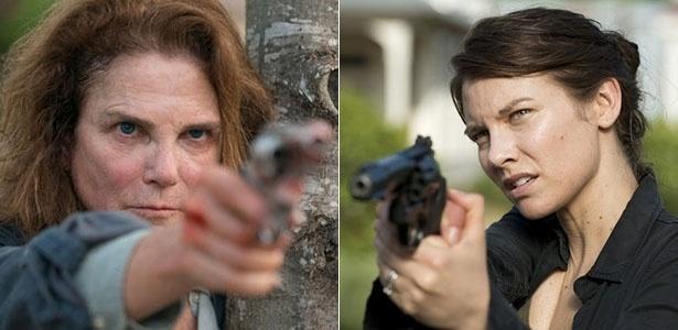 "Deanna (Tovah Feldshuh) e Maggie (Lauren Cohan) em cena de ""The Walking Dead"""