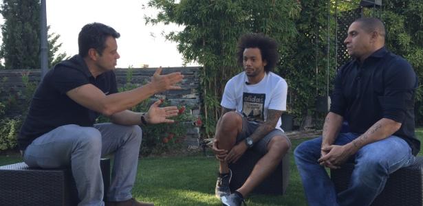 Marcelo e Roberto Carlos conversaram com o repórter Eric Faria