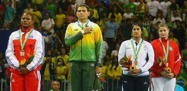 Final do Judo feminino na categoria 78 quilos nos jogos Pan Americanos no Rio. Edinanci Silva conquista medalha de ouro após vencer a cubana Yurisel Laborde