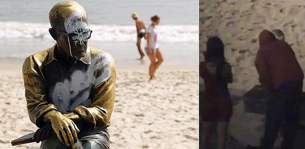 A estátua de Drummond amanhece pichada no Rio no Natal