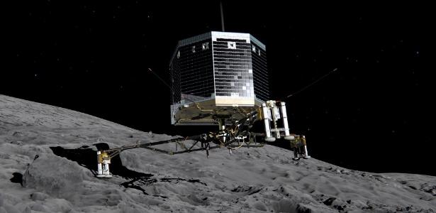 O robô Philae que está pousado sobre a superfície do cometa 67P: baterias desligadas