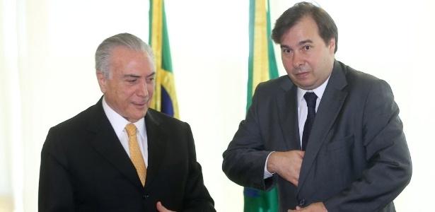14.jul.2016 - O presidente interino, Michel Temer (PMDB), recebe o novo presidente da Câmara dos Deputados, Rodrigo Maia (DEM-RJ)