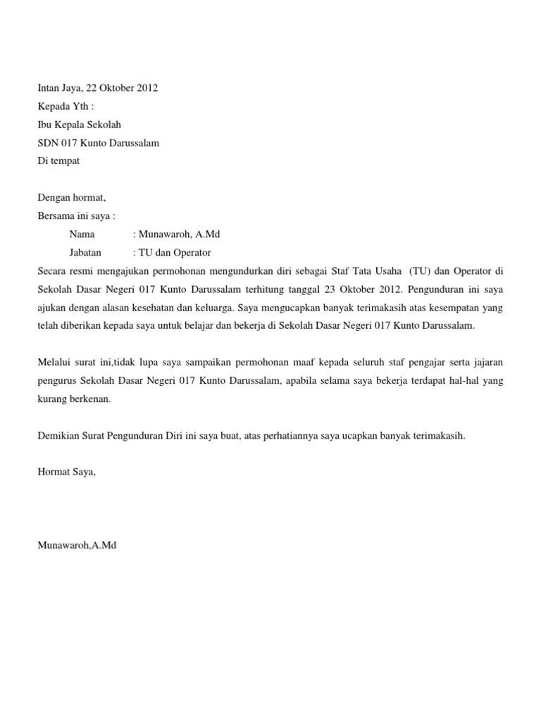 48++ Contoh surat pengunduran diri excel terbaru yang baik