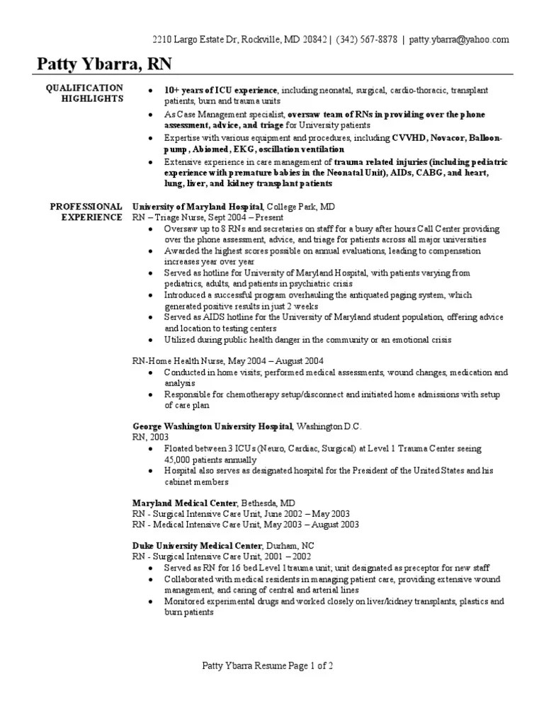 sample medical surgical nursing resume