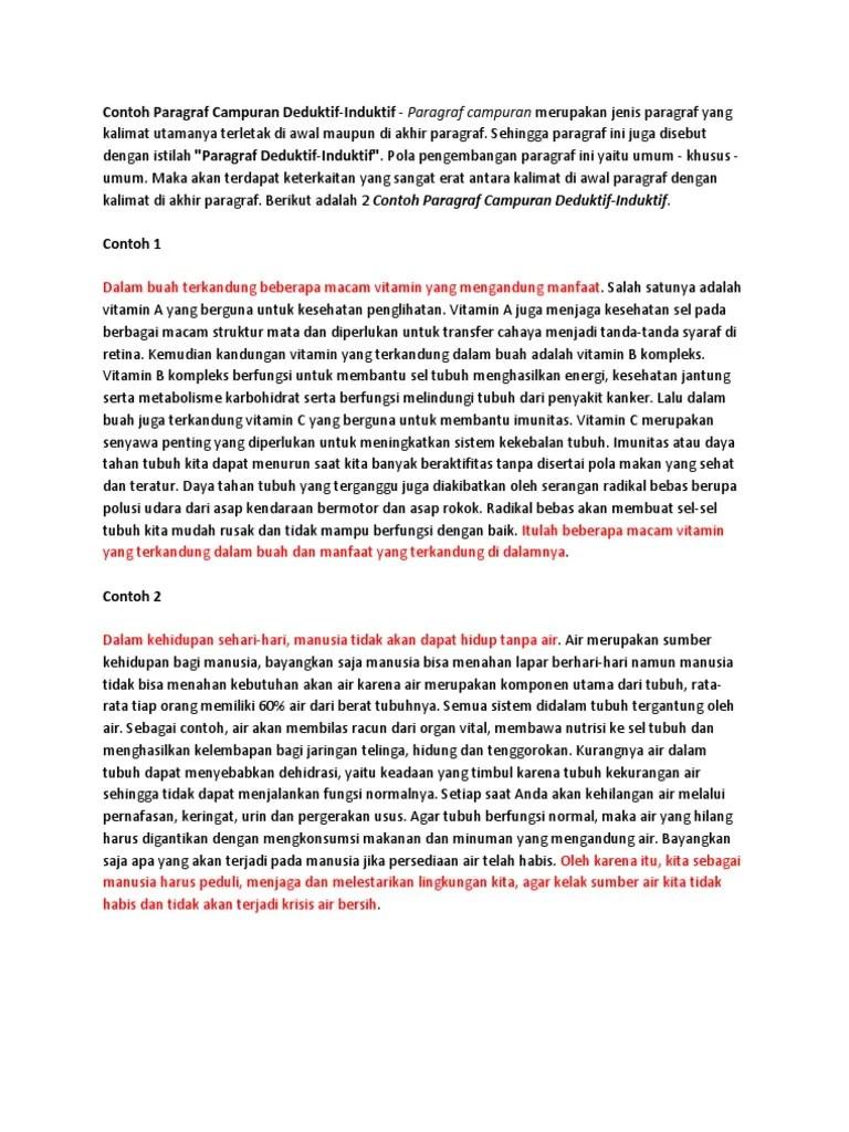 20 Contoh Paragraf Deduktif Induktif Campuran Tentang Kesehatan