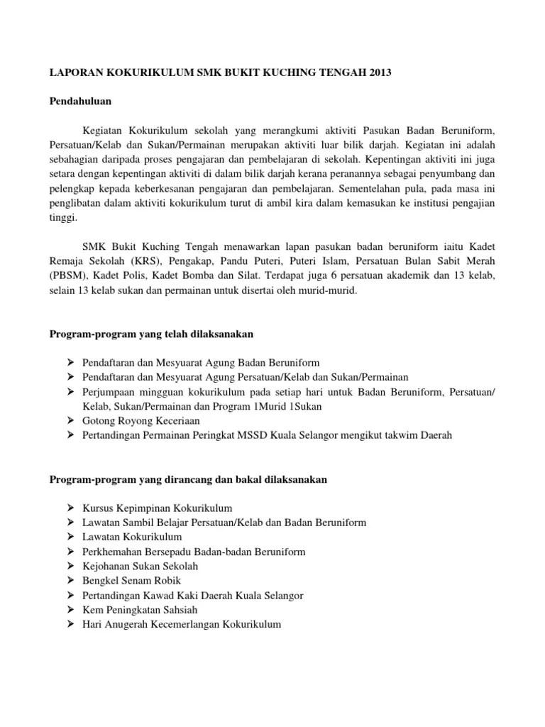 Sekolah Menengah Contoh Laporan Aktiviti Kokurikulum