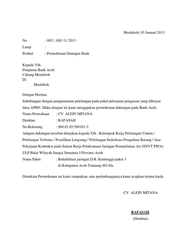 Surat Dukungan Bank : surat, dukungan, Contoh, Format, Surat, Dukungan