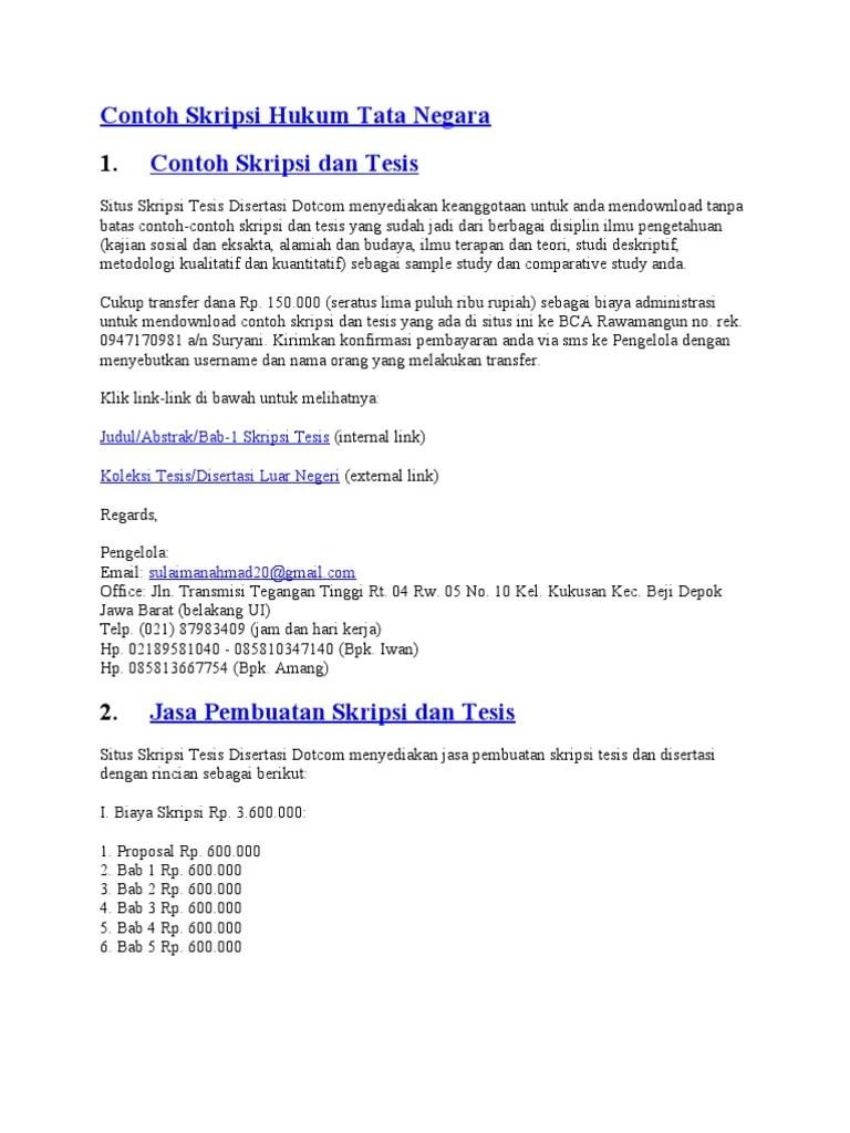 16 Contoh Skripsi Ilmu Hukum Tata Negara