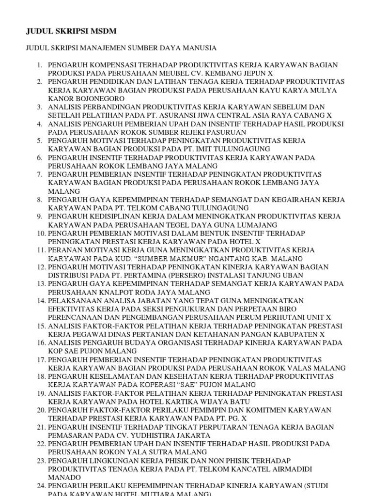 20 Judul Skripsi Manajemen Msdm 3 Variabel