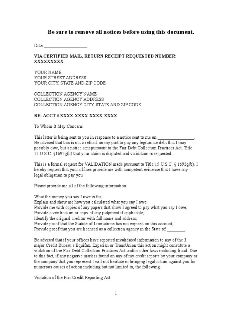 Sample Debt Validation Letter To Collection Agency Collection Agency Credit History