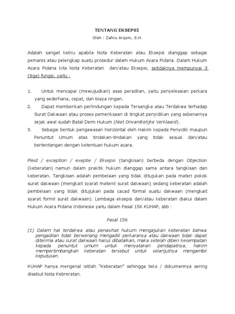 19 Contoh Surat Eksepsi Batal Demi Hukum