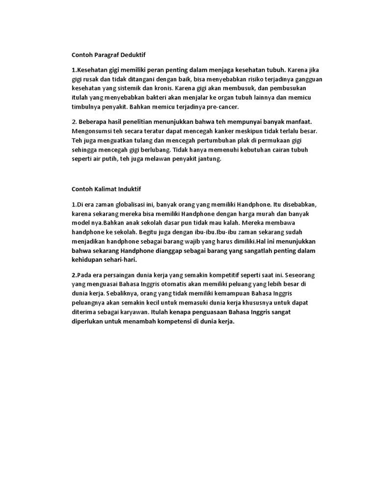 20 Contoh Paragraf Deduktif Kesehatan