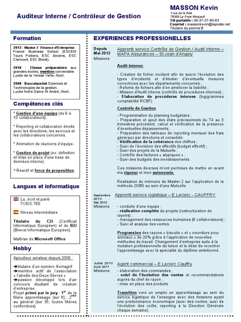 Cv Audit Interne Controle De Gestion Pdf Audit Audit Interne